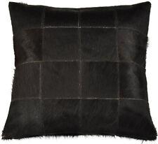 VERE pelo di mucca cuscino 40x 40 cm nero fodera cuoio Rivestimento per
