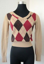 tan brown burghundy red argyle pull over v-neck sweater xs