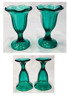 VINTAGE Libbey Ice Cream Sundae Glasses GREEN Tulip 1/2-Cup Capacity 2-Piece Set