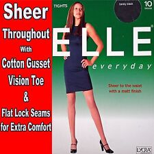 ELLE 3 PAIRS OF LADIES 10 DENIER SHEER to THE WAIST TIGHTS with a MATT FINISH