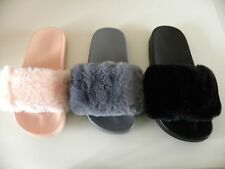 CHILDREN GIRLS SLIP ON RUBBER SLIDERS MULES FLUFFY FUR SLIPPER FLIP FLOP SANDAL
