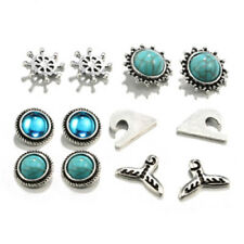 12 Pairs Fashion Rhinestone Crystal Pearl Stud Earrings Set Women Ear Jewelry