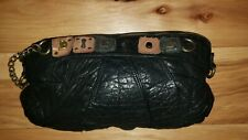 DIESEL Medium Wristlet Evening Day Bag spell out soft leather funky purse Black