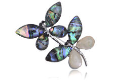 Silver Abalone Shell Tiny Twin Dragonfly Rhines Pin Brooch Fashion Xmas Gift New