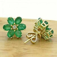 2.50 Ct Oval Cut Emerald & Diamond Cluster Stud Earrings 14k Yellow Gold Finish