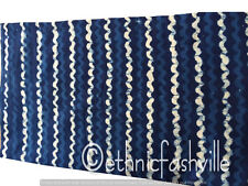 Indian Hand Block Print Cotton Blue Striped Sewing Material Craft Art Decor New