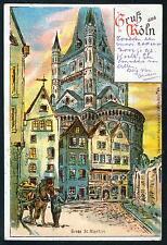 Litho / Lithografie KÖLN Groß St. Martin (Kirche vor 1900) - gez. Paul Matthes