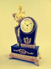 Tischuhr Frau Polystein Bein gold farbig Reiseuhr Kamin Uhr Zeitzeugin Geschenk