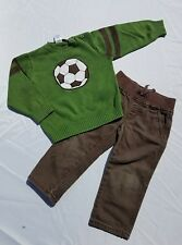 Gymboree Soccer Star Sweater Jeans Sz 2T Vintage Brown Denim Pullover Green Set