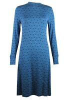 Womens Teal Blue Ditsy Floral Print Jersey Swing Tunic Dress 6-24 3 Lengths