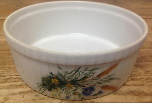Pillivuyt Quiche Ribbed Baking Dish Round White Floral France Hoan Sprays 261118