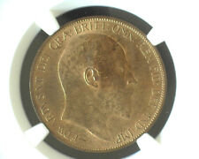 GREAT BRITAIN 1902 ONE PENNY NGC MS 64 RB (MOSTLY RED)