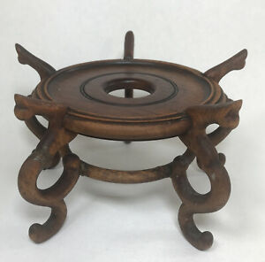 Antique Chinese Pedestal Stand Planter Jardiniere Vase Ginger Jar Wood