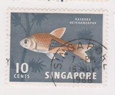 (K65-256) 1962 Singapore 10c Harlequin fish (J)