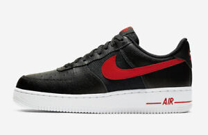 Mens Nike Air Force 1 `07 LV8 Trainers CD1516 001 Black/Red Size UK 7 EU 41