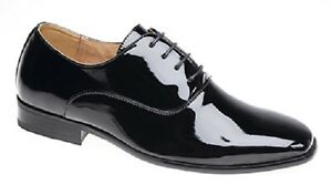 Mens Shiny Black Leather Lined Smart Patent Wedding Shoes Formal Outfit Boys