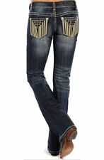889a517c NEW NWT - Rock and Roll Cowgirl Stars Stripes Low Rise Boot Cut Jeans 28 x