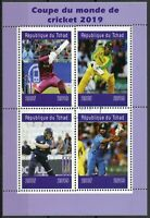 Chad 2019 CTO Cricket World Cup 2019 England & Wales 4v M/S Sports Stamps
