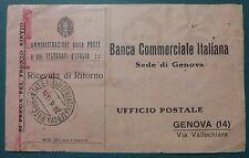 RICEVUTA DI RITORNO BCI - GENOVA 1933
