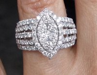 DEAL! 2.00 CTW Natural Cluster Round Diamond Marquise shape ring 14K White Gold