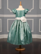 Ladybug Collection 1189 Flower Girl Dress Formal Taffeta Green White Bow 5 $200