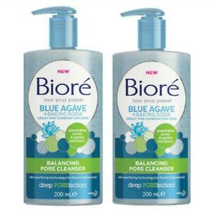 2 x Biore Blue Agave + Baking Soda Pore Balancing Cleanser 200ml New.