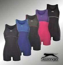 Womens Slazenger Boyleg Swimsuit Swimming Costume Racer Back Shorts Style Legs