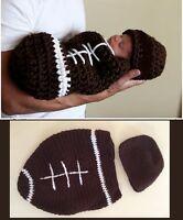 Handmade Newborn Baby Football Cocoon & Hat Crochet Photo Prop 0-1 months
