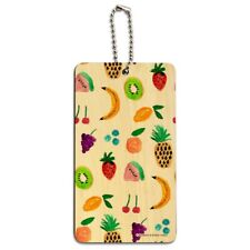 Tiny Fruits Bananas Cherries Grapes Kiwi Pineapples Wood Luggage ID Tag