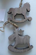 2 S ANHÄNGER Weihnachten, Pferd Rentier Holz taupe braun, B 12 c m,Sisal,Schmuck