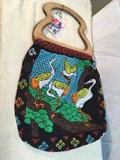 Wood Handle Shopping Beach Tote Bag Bead Crane Bird China Town New York