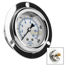 "2.5"" Liquid Filled Pressure Gauge 0-200 PSI 1/4"" NPT CBM Panel Flush Mount"
