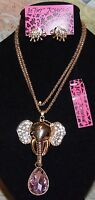 3 PC BETSEY JOHNSON BEAUTIFUL  LARGE PINK CRYSTAL & ELEPHANT NECKLACE EARRINGS