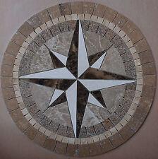 """Floor 32"""" Marble TravertineTile Medallion Design Stone 32"""" #23"""