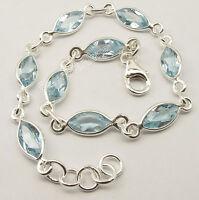 """925 Sterling Silver Fancy CUT BLUE TOPAZ STUNNING Bracelet 7.9"""" 6.1 Grams NEW"""
