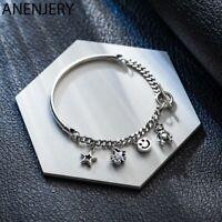 Damen Armband 925 Sterling Silber Charme Mond Sterne Armreif  Zirkon Perle Kette