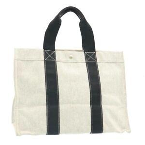 HERMES Fourre Tout GM Tote Bag Canvas Gray Auth ds091