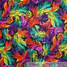BonEful Fabric Cotton Quilt Rainbow Peacock Feather Bird Dot Purple Red 99 SCRAP