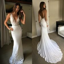 Boho Beach Wedding Dresses Bridal Gown Mermaid Backless Sleeve Deep V Neck Lace