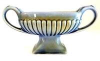 "Wade Irish Porcelain Jardiniere Planter Vase Blue Green 3.5""H 8""W  2 Handles EUC"