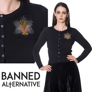 Banned Apparel Priestess Embroidered Chalice Witchy Gothic Knit Crew Cardigan