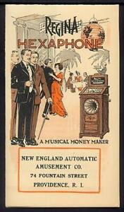 1915 REGINA HEXAPHONE Coin Operated Phonograph Advertising Flyer Music Box