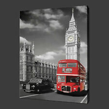 LONDON BIG BEN RED BUS CANVAS WALL ART PICTURES PRINTS 20 x 16 Inch FREE UK P&P