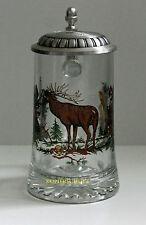 Bierkrug aus Glas mit Zinndeckel und Hirschmotiv