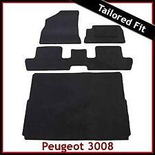 Peugeot 3008 Mk1 2009-2016 Tailored Floor Carpet Car and Boot Mats BLACK