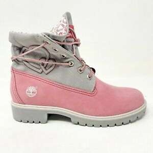 Timberland Womens 6 Inch Premium Boots Roll Top Size 9 Pink Grey Hearts 36346