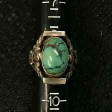 Vintage Sterling Silver Jewelry Ring- Tall Stone Filigree Band Size: 9