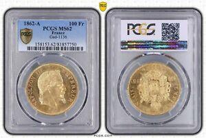 100 FRANCS OR NAPOLEON III 1862 A PARIS PCGS MS62 SPL RARE