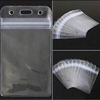 ID Card Badge Holder With Zipper 10Pcs Vertical Transparent Vinyl Plastic Clear