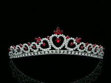Bridal Red Rhinestone Crystal Heart Wedding Prom Princess Tiara 8371